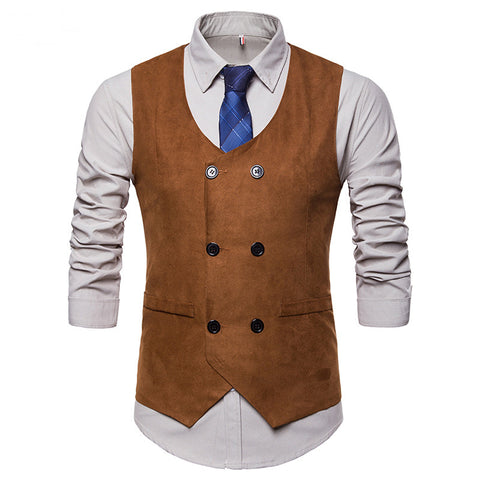 Velvet Sleeveless Double-Breasted Suit Vest