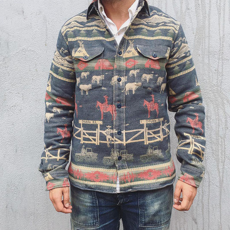 Flashmay Men's Printed Pocket Button Jacket