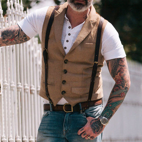 Flashmay Men's Pocket Single Row Button Vest