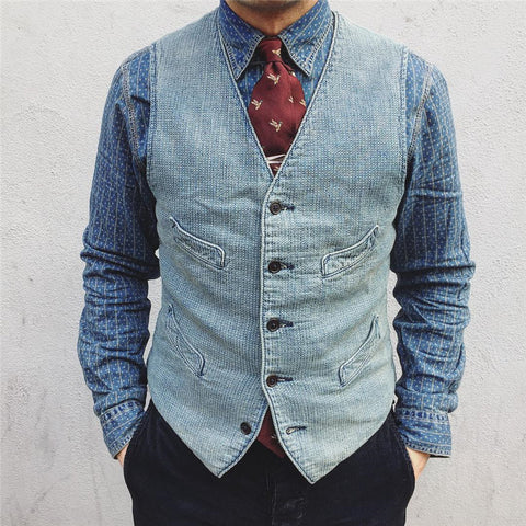 Flashmay Men's Pocket Denim Vest