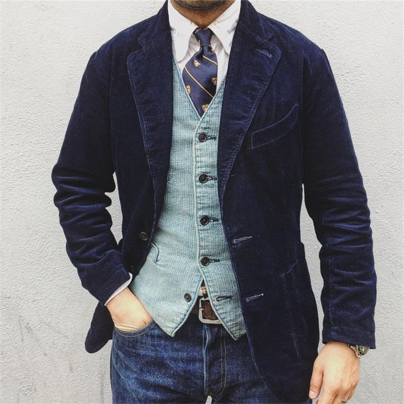 Flashmay Men's Flannel Solid Color Blazer