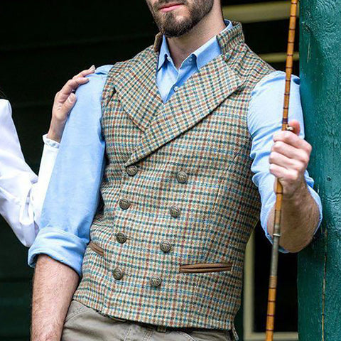 Flashmay Vintage Plaid A Lapel Men  Vest
