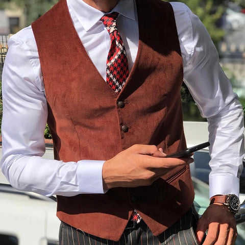 Flashmay Men's Casual Slim Velvet Vest