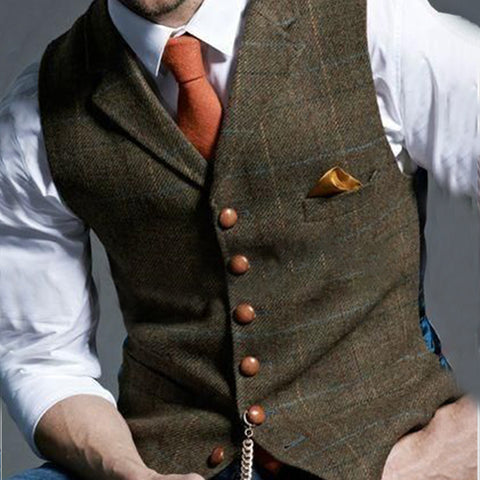 Flashmay Formal Single-breasted Printed Color Men Vest
