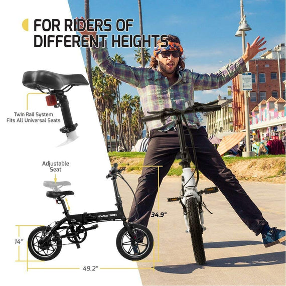 Swagtron SwagCycle EB-5 Lightweight Aluminum Folding Electric Bike with Pedals