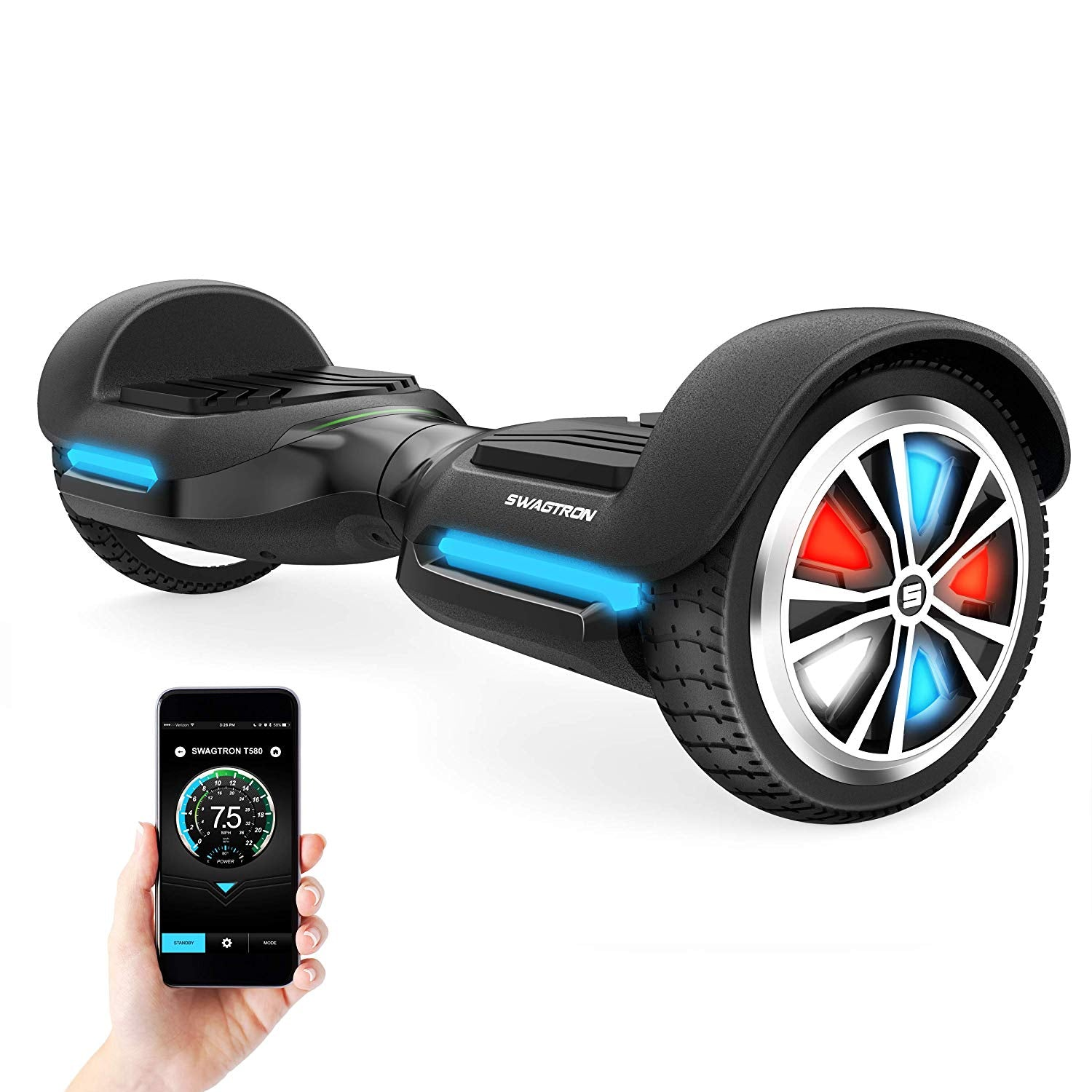 SWAGTRON VIBE T588 Bluetooth Hoverboard with LED Light-Up Wheels & Speaker