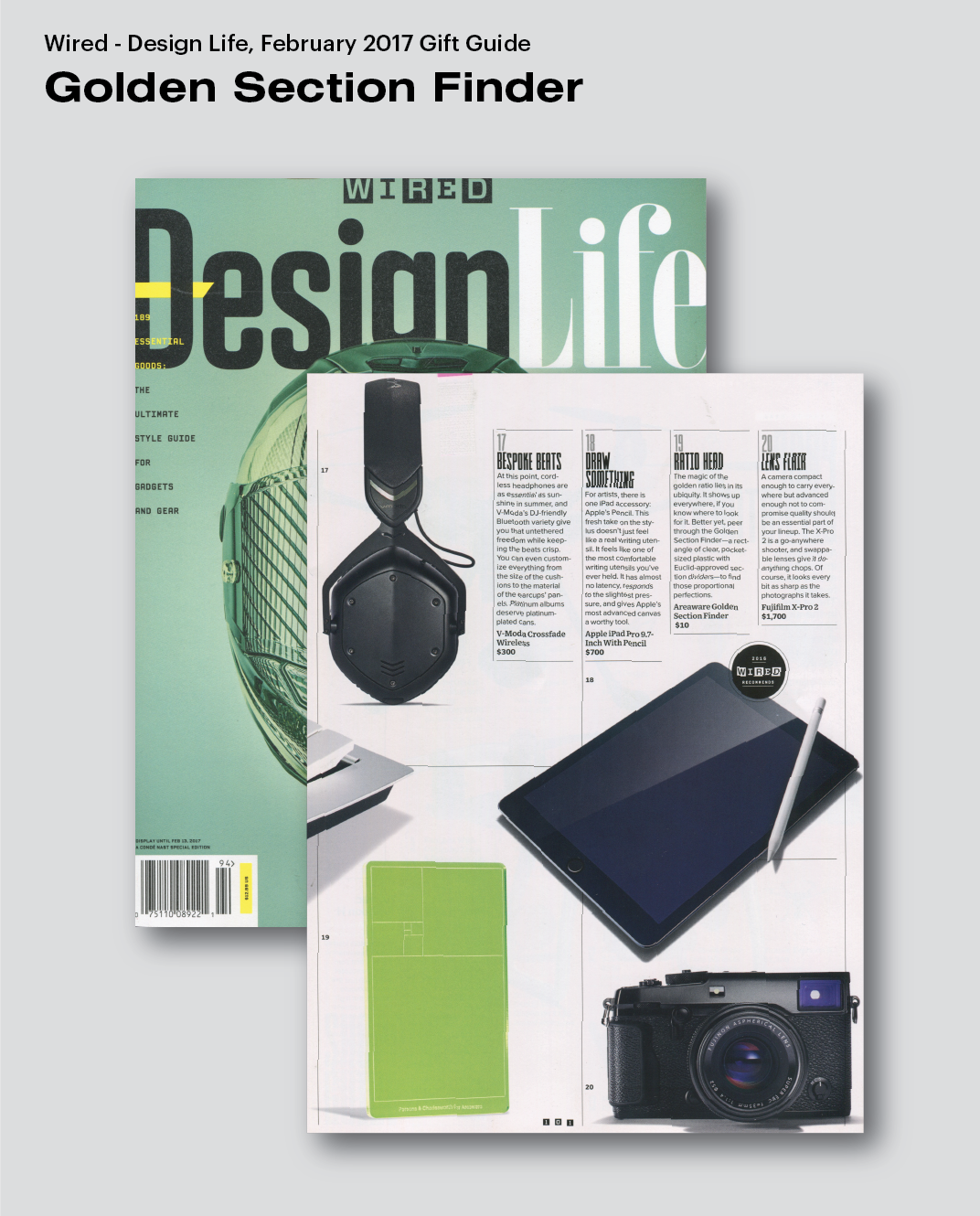 Golden Section Finder featured in Wired Magazine – Areaware