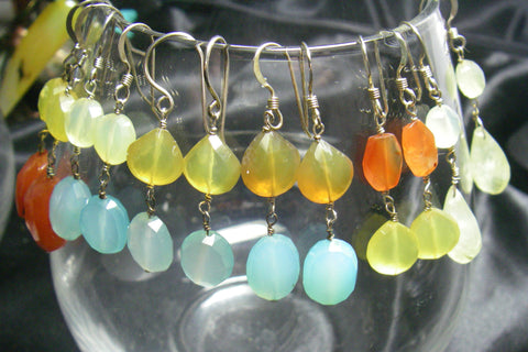 Spring Collection, Chalcedony, Blue, Yellow, Sterling Silver Earrings