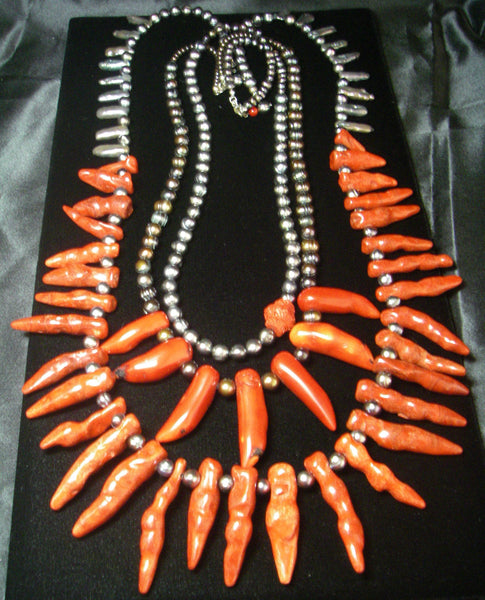 Red coral, black pearl, silver necklaces