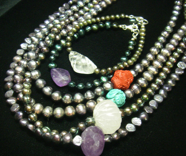 Black pearl necklace, with amethyst, rose quartz, turquoise, coral