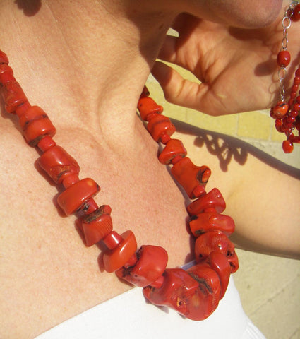 Red Coral, Silver Necklace