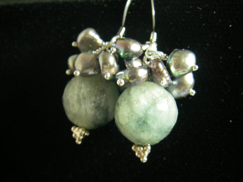 Aquamarine, Silver Pearls, Sterling Silver Earrings