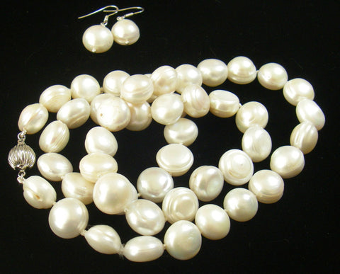White Pearls, Sterling Silver Silk Knotted Necklace