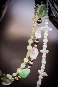 Aquamarine, Rose & Rutilated Quartz Silver Necklace - Leila Haikonen Jewellery