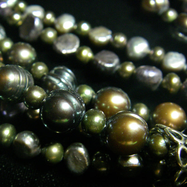 Black Pearl Three Strand Silver Necklace - Leila Haikonen Jewellery
