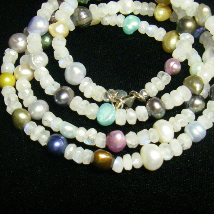 White Moonstone & Multicoloured Pearl Silver Necklace - Leila Haikonen Jewellery