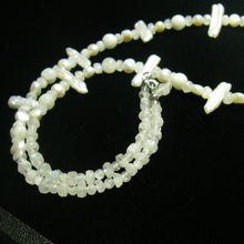 White Moonstone & Stick Pearl Silver Necklace - Leila Haikonen Jewellery