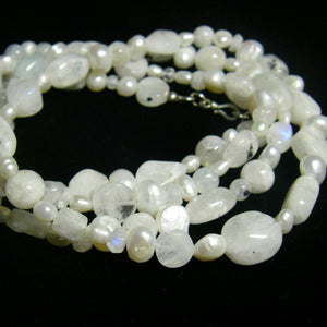 White Moonstone White Pearl Silver Necklace - Leila Haikonen Jewellery