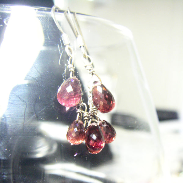 Red Garnet Silver Earrings - Leila Haikonen Jewellery