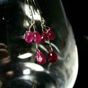 Ruby Red Silver Earrings - Leila Haikonen Jewellery