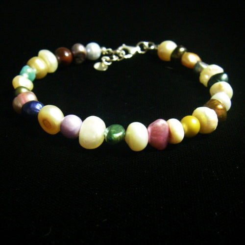 Multi Colour Pearl Silver Bracelet - Leila Haikonen Jewellery
