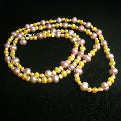 Yellow, Orange & Pink Pearls Silver Necklace - Leila Haikonen Jewellery