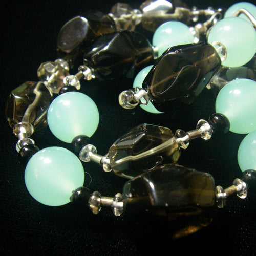 Smoky Quartz, Aqua Chalcedony, Silver Necklace - Leila Haikonen Jewellery