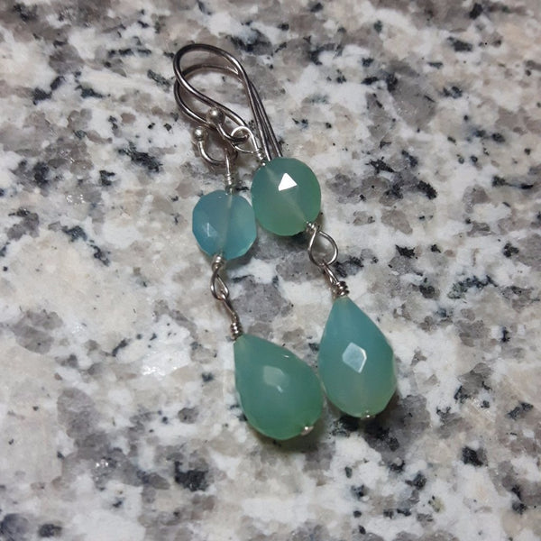 Aqua Chalcedony Drop Silver Earrings - Leila Haikonen Jewellery - 1