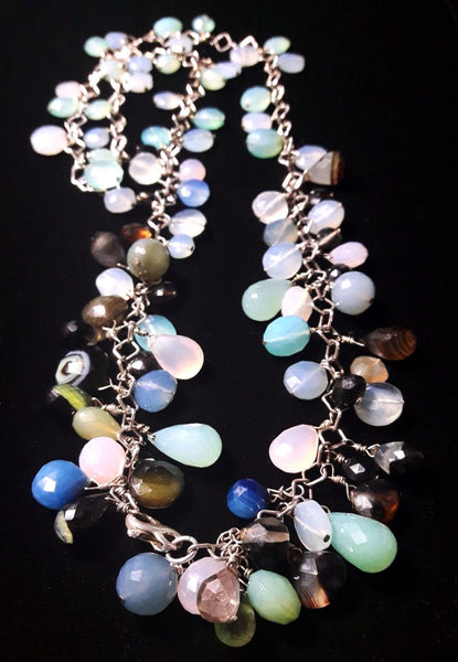 Mixed Chalcedony & Silver Necklace - Leila Haikonen Jewellery - 4