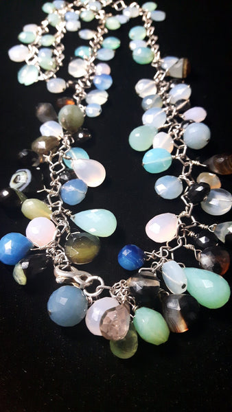 Mixed Chalcedony & Silver Necklace - Leila Haikonen Jewellery - 2
