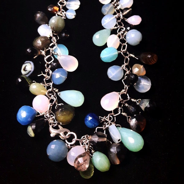 Mixed Chalcedony & Silver Necklace - Leila Haikonen Jewellery - 5