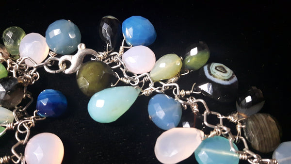Mixed Chalcedony & Silver Necklace - Leila Haikonen Jewellery - 3