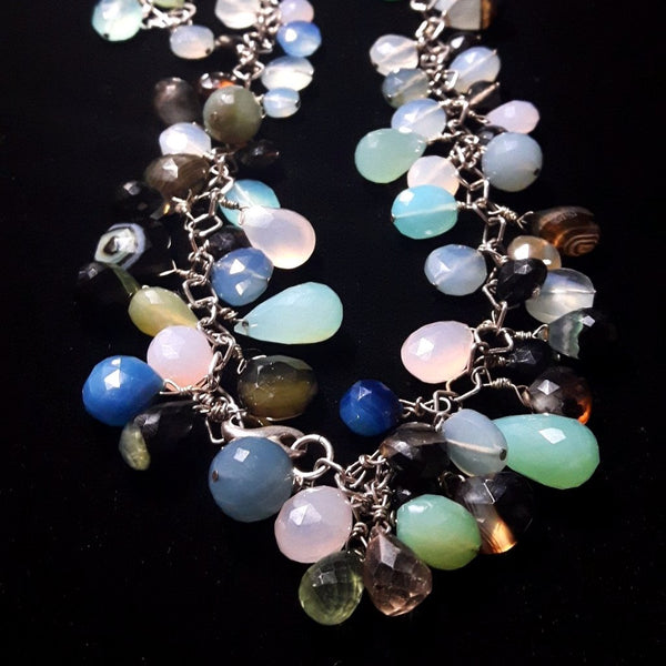 Mixed Chalcedony & Silver Necklace - Leila Haikonen Jewellery - 1