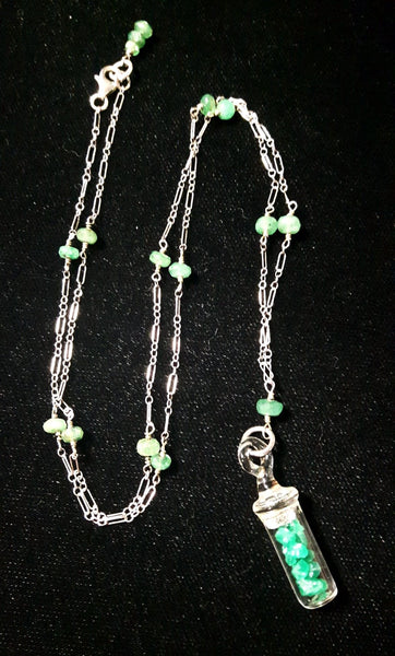 Emerald & Rough Emerald Silver Necklace - Leila Haikonen Jewellery - 5