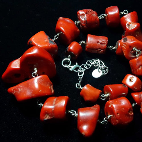 Huge Graduated Red Coral, Silver Necklace - Leila Haikonen Jewellery
