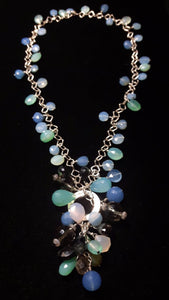 Mixed Blue Chalcedony & Silver Necklace - Leila Haikonen Jewellery