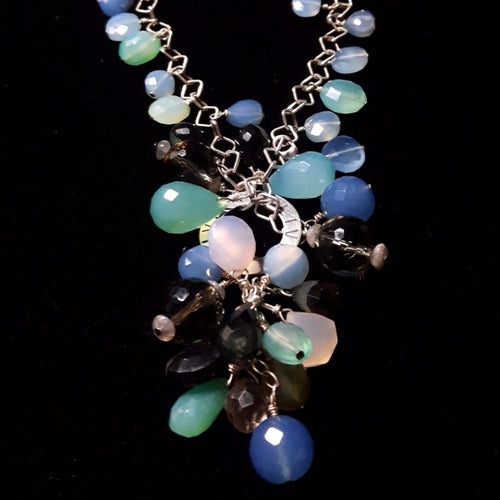 Mixed Blue Chalcedony & Silver Necklace - Leila Haikonen Jewellery - 1