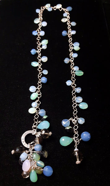 Mixed Blue Chalcedony & Silver Necklace - Leila Haikonen Jewellery - 4
