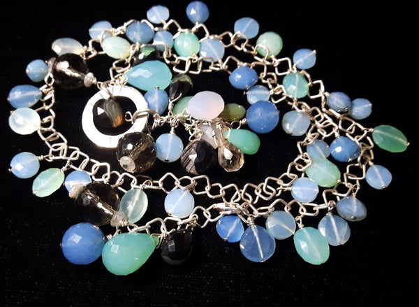 Mixed Blue Chalcedony & Silver Necklace - Leila Haikonen Jewellery - 5