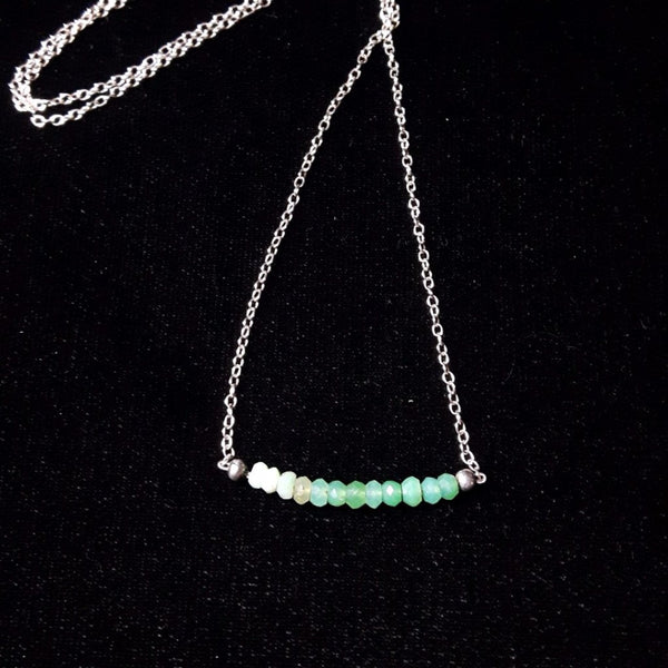 Green Chrysocolla & Silver Necklace - Leila Haikonen Jewellery - 1