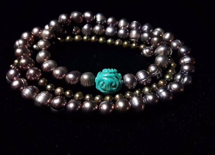 Turquoise & Black Pearl Silver Necklace - Leila Haikonen Jewellery