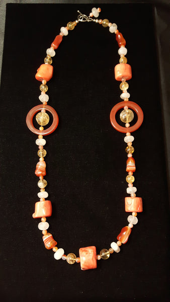 Carnelian, Coral, Citrine, Rose Quartz, Silver Necklace - Leila Haikonen Jewellery - 6