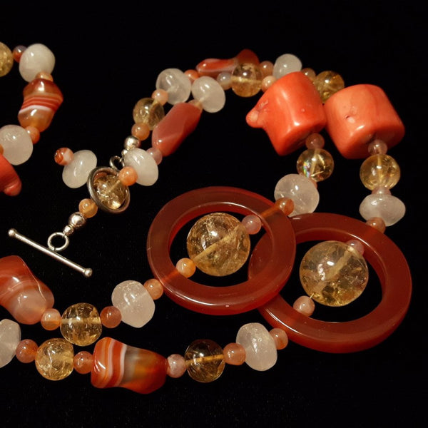 Carnelian, Coral, Citrine, Rose Quartz, Silver Necklace - Leila Haikonen Jewellery - 1