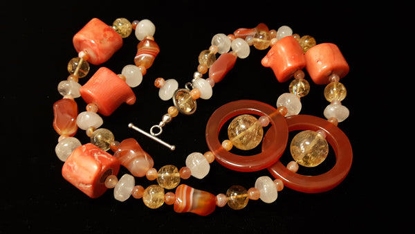Carnelian, Coral, Citrine, Rose Quartz, Silver Necklace - Leila Haikonen Jewellery - 9