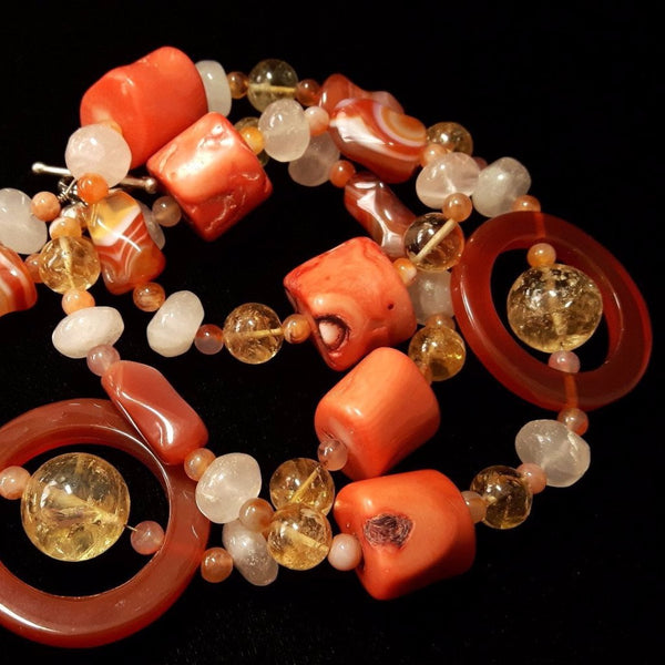 Carnelian, Coral, Citrine, Rose Quartz, Silver Necklace - Leila Haikonen Jewellery - 10