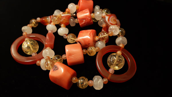 Carnelian, Coral, Citrine, Rose Quartz, Silver Necklace - Leila Haikonen Jewellery - 7