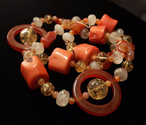 Carnelian, Coral, Citrine, Rose Quartz, Silver Necklace - Leila Haikonen Jewellery