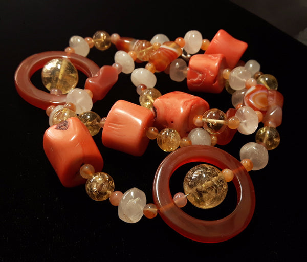 Carnelian, Coral, Citrine, Rose Quartz, Silver Necklace - Leila Haikonen Jewellery - 4