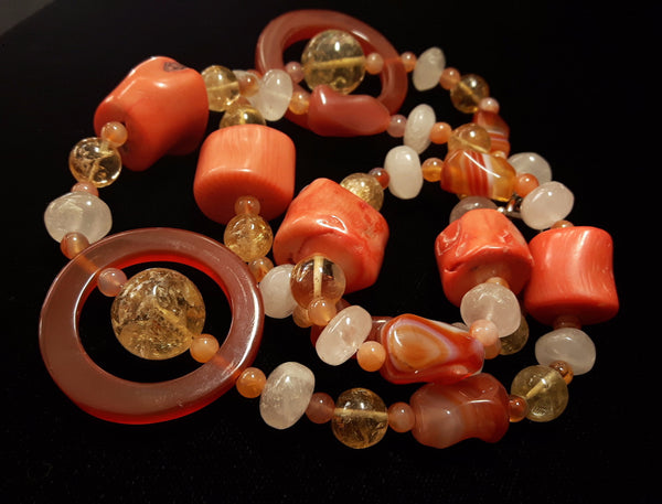 Carnelian, Coral, Citrine, Rose Quartz, Silver Necklace - Leila Haikonen Jewellery - 2