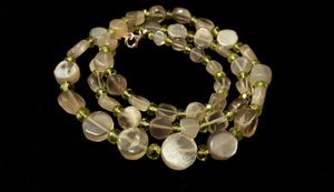 Grey Moonstone & Peridot Silver Necklace - Leila Haikonen Jewellery